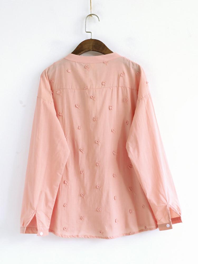 Mori Girl V-Neck Embroidery Blouse