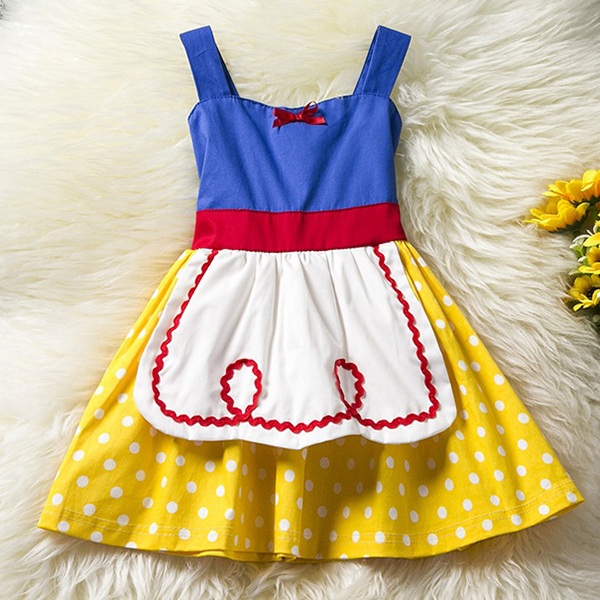 Baby Kid Girls Bowknot Dots Printed Sleeveless Princess Dress Halloween Costumes