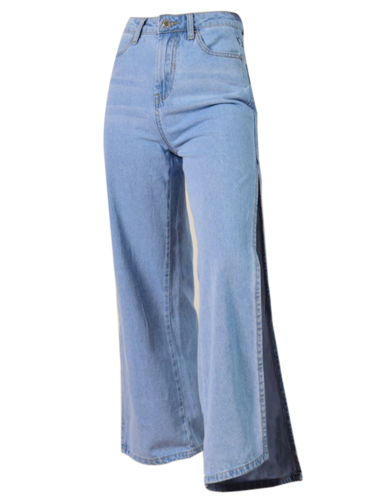 Sexy Women High Waist Side Slit Wide Leg Crop Jeans
