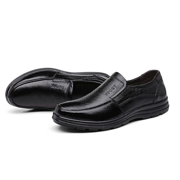 Men Casual Business Comfy Genuine Leather Slip On Oxfords