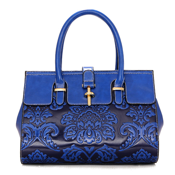 Women Chinoiserie National Floral Embossed Crossbody Bag
