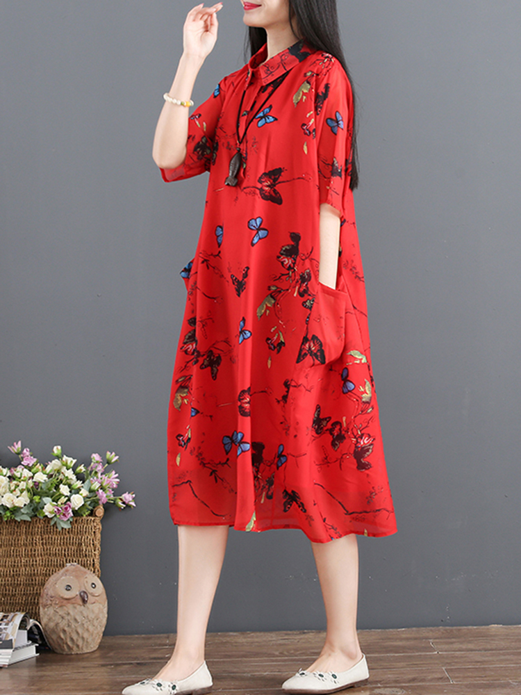 Women Floral Printed Short Sleeve Turn-Down Collar Dress