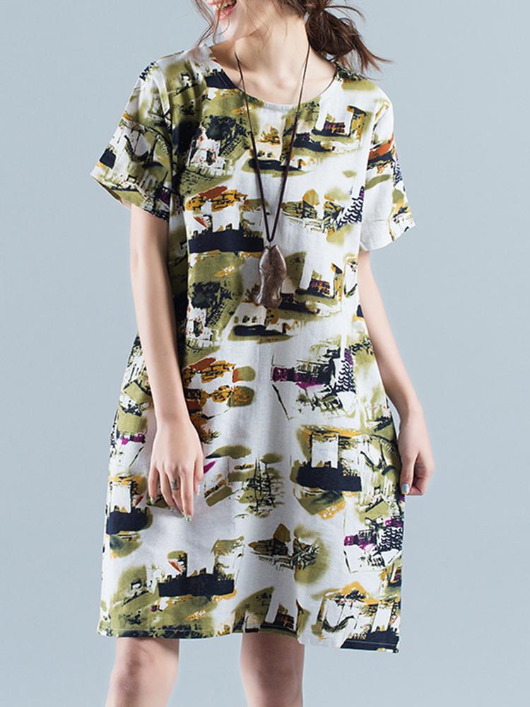 Casual Women Printed Short Sleeve Side Pockets Dress