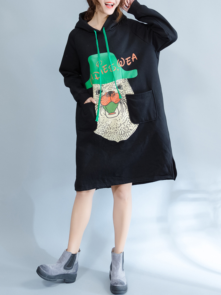 Plus Size Casual Women Cartoon Hooded Thick Sweatshirt