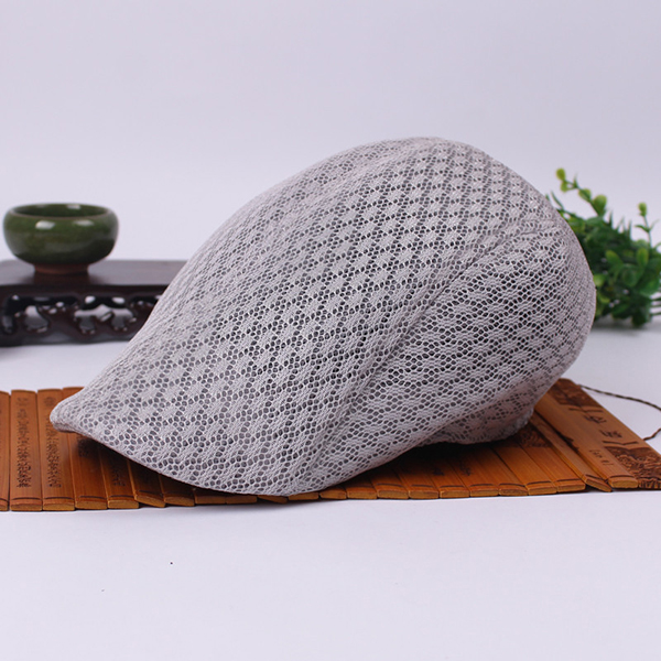 Unisex Mesh Beret Hats Breathable Solid Outdoor Sports Cabbie Golf Gentleman Visor Cap