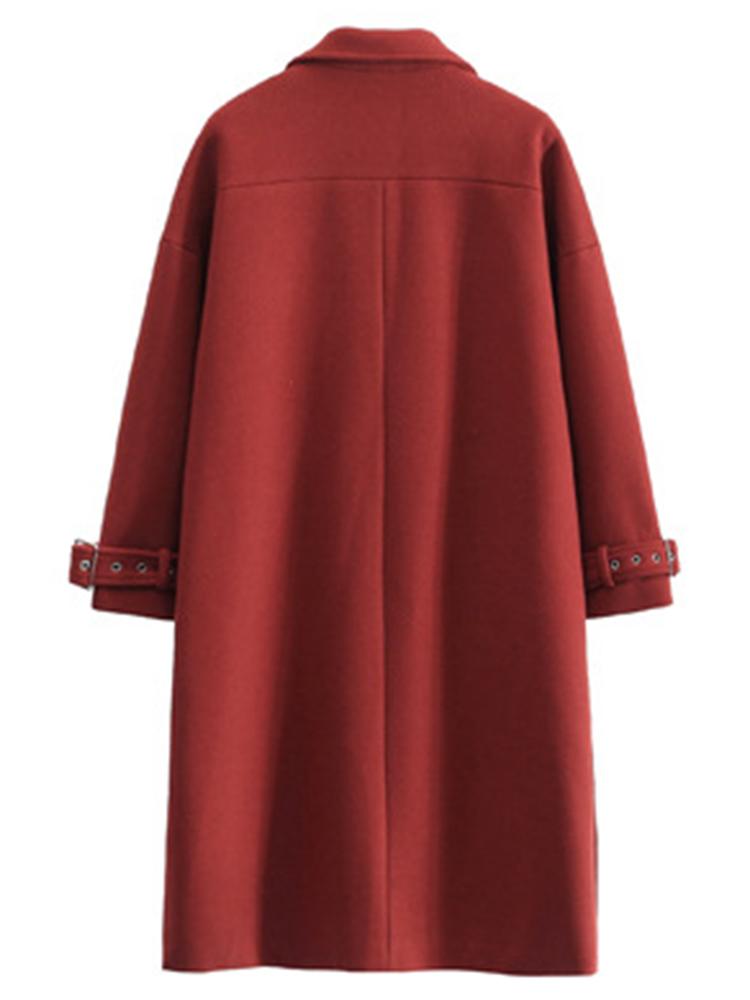 Plus Size Casual Women Side Split Woolen Coats