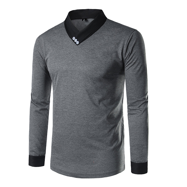 Summer Men's Fashion Hit Color Long Sleeve T-Shirts Three Buttons Casual Fitness Tees