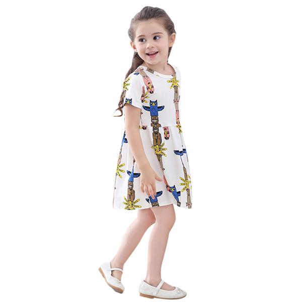 Kid Girls Short Sleeve Cartoon Pattern Printed Dress