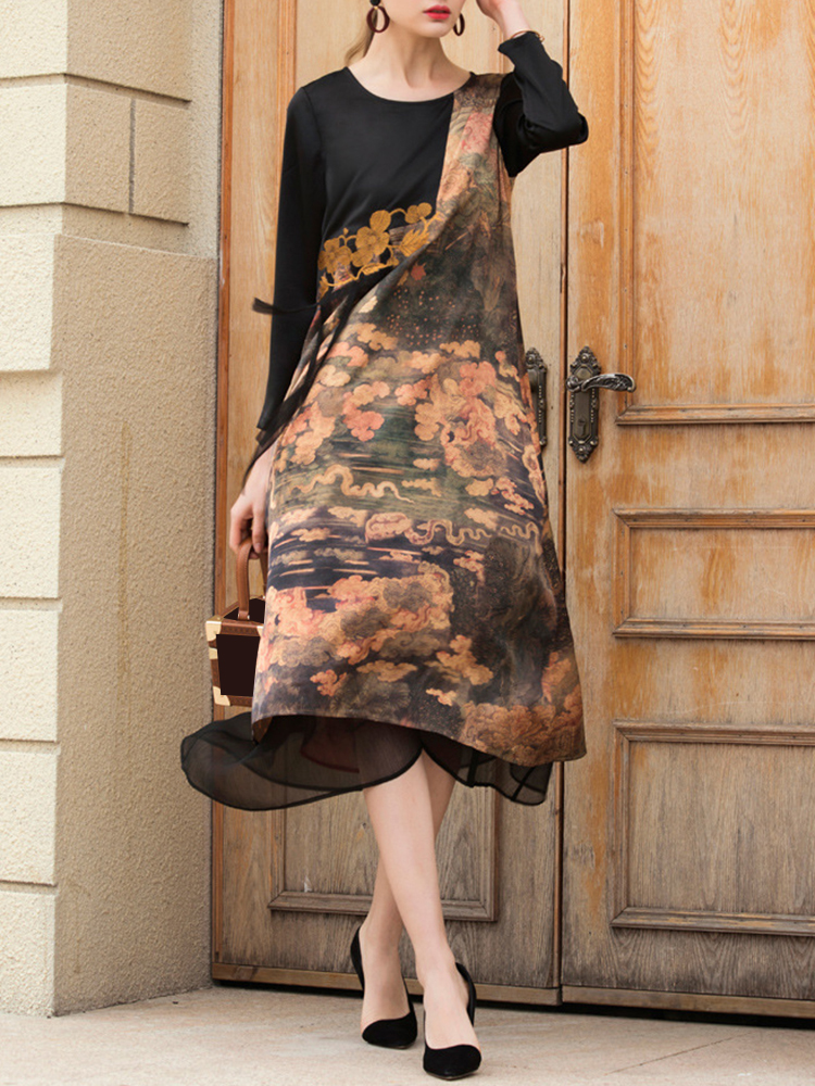 Elegant Printed Patchwork Dress