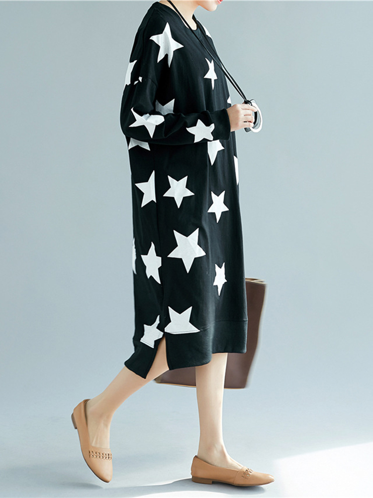 Star Printed O-Neck Dress