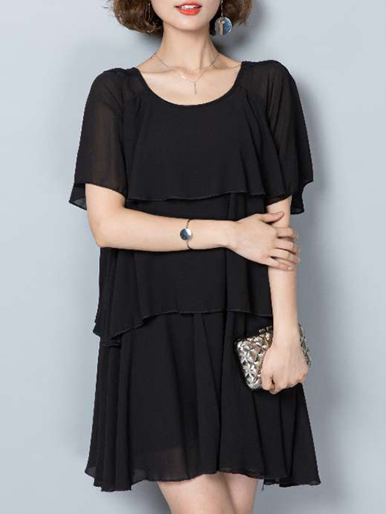 Elegant Women Chiffon Dress Loose Chiffon Tiered Black Mini Dresses