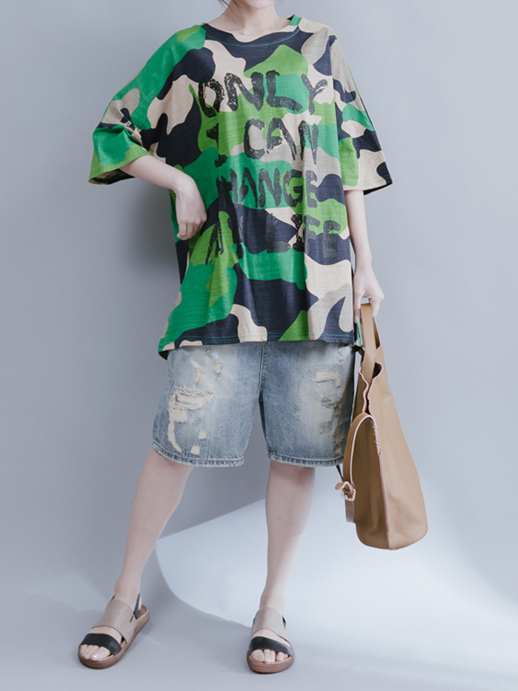 Plus Size Women Loose Cotton Blouse Green Camouflage Printed Letter Tshirt