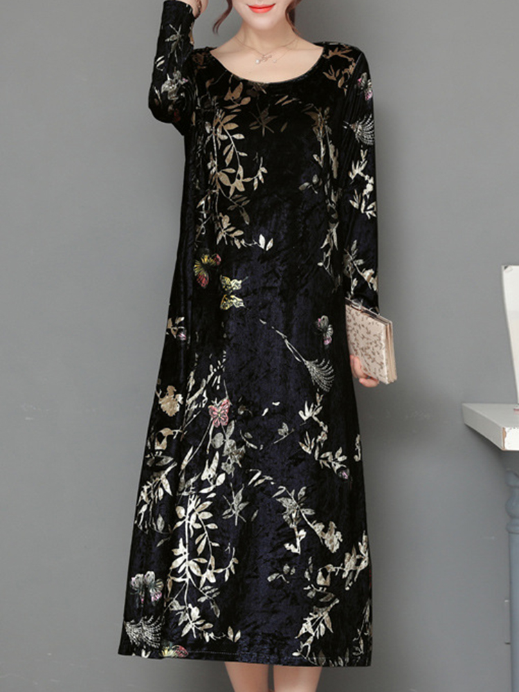 Elegant Women Thick Velvet Floral Dress