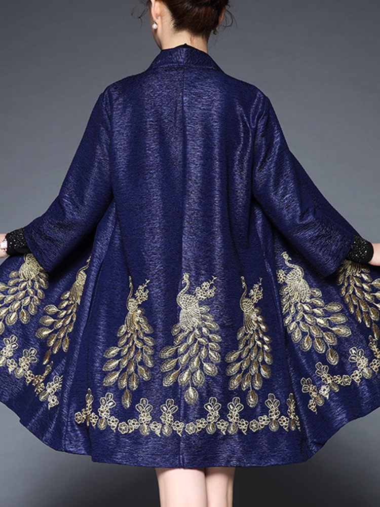 Plus Size Elegant Women Peacock Embroidery Cardigans