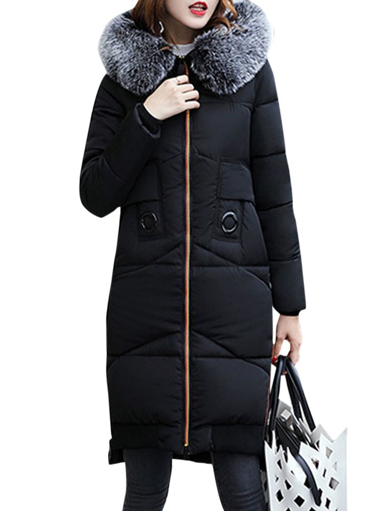 Women Faux Fur Collar Hooded Coat