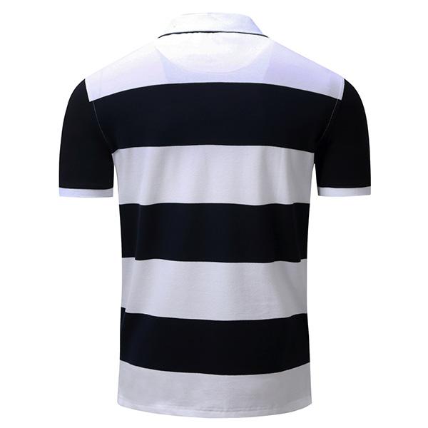 Spring Summer Mens Casual Stripe Printing Golf shirt Cotton Business Short-sleeved T-shirt