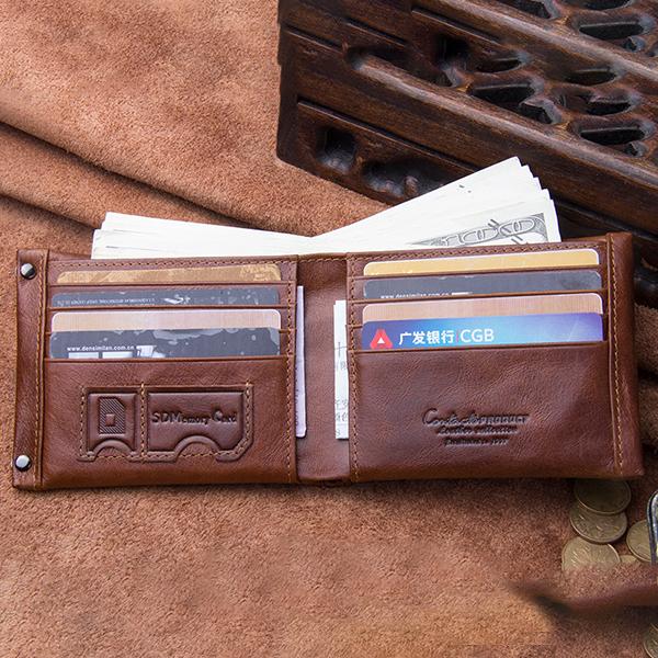 Men Retro Genuine Leather SD SIM Card Coin Zipper Bag Wallet