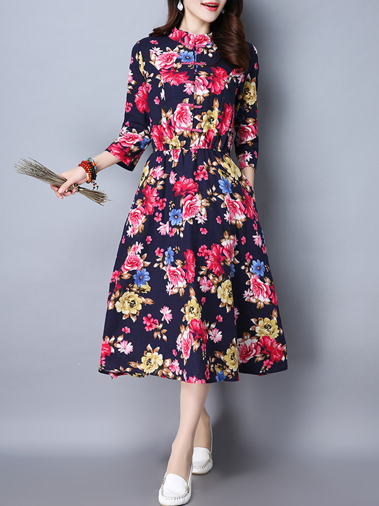 Ethnic Women Floral Printed 3/4 Sleeve A-Line Swing Dress