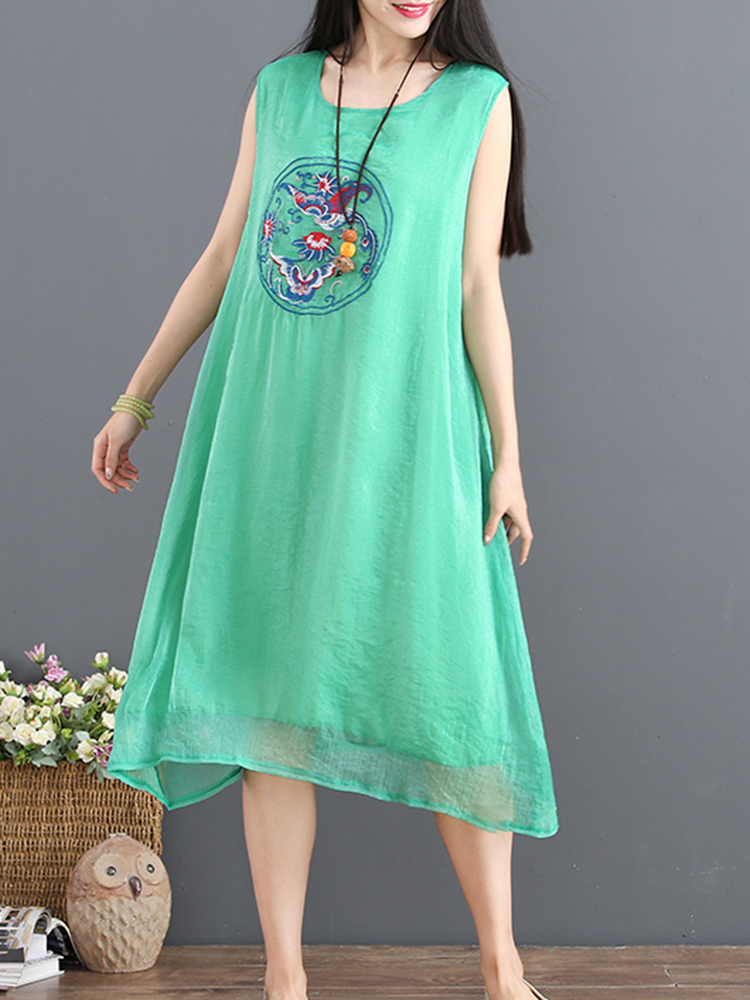 Vintage Women Loose Pure Color Sleeveless Dress
