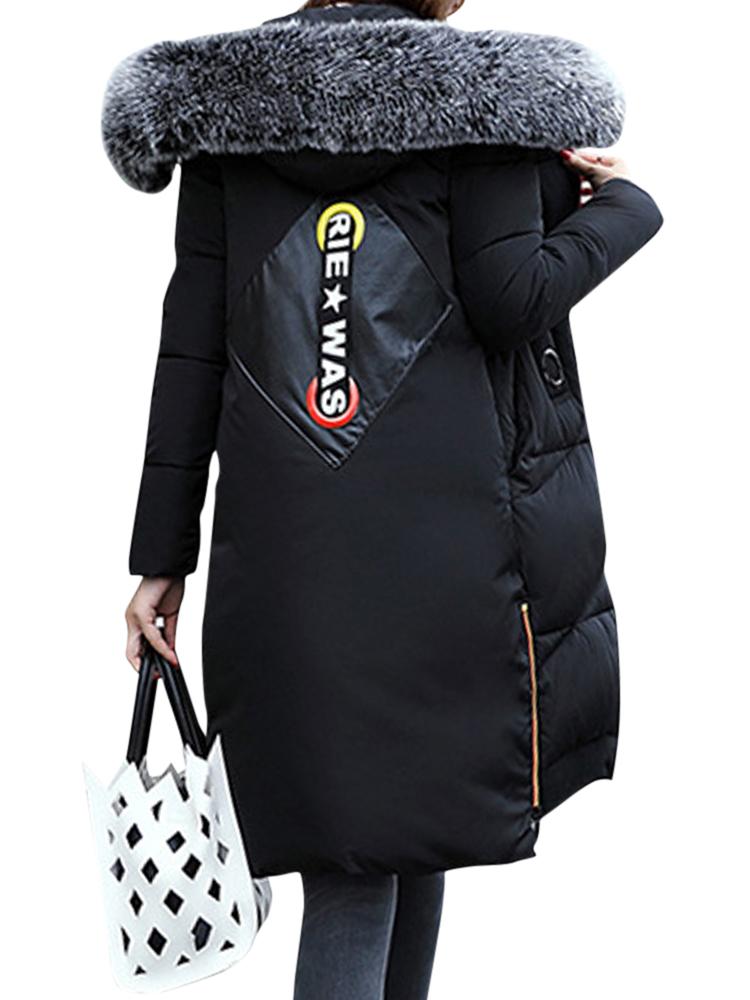 Women Faux Fur Collar Hooded Coat
