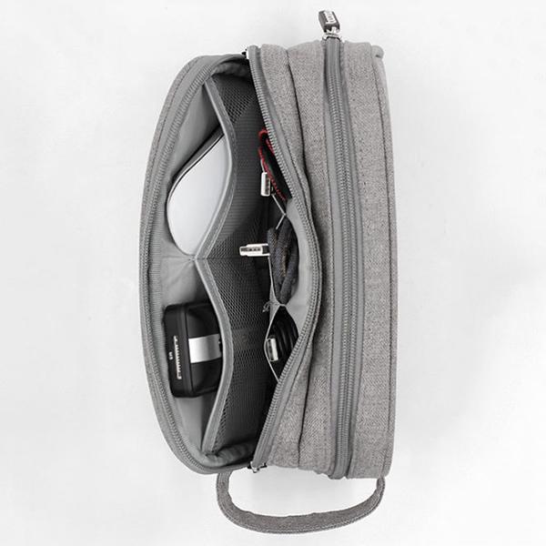 Men Women Multifunction Earphone Double Zippers Storage Bag