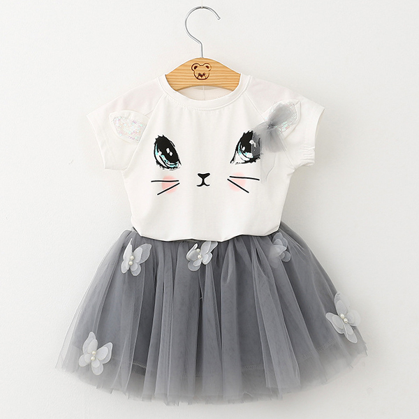 2Pcs Kid Girls Cute Cat Pattern Short Sleeve T-shirt Butterfly Tutu Skirt