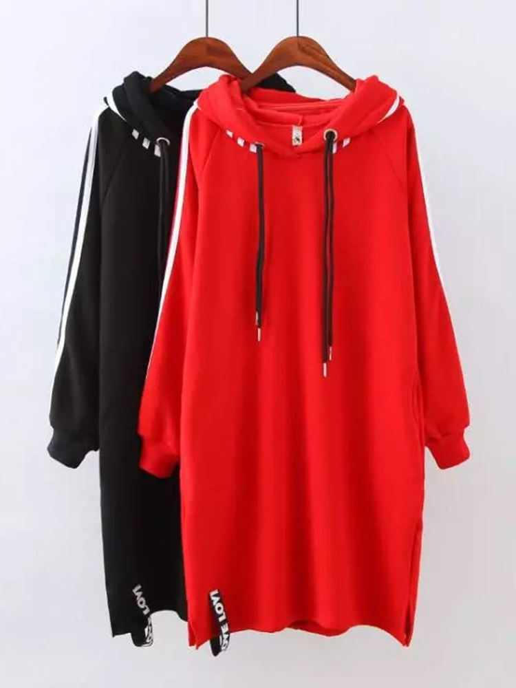 Plus Size Women Long Hoodie Plus Cashmere Thick Plain Sweatshirt