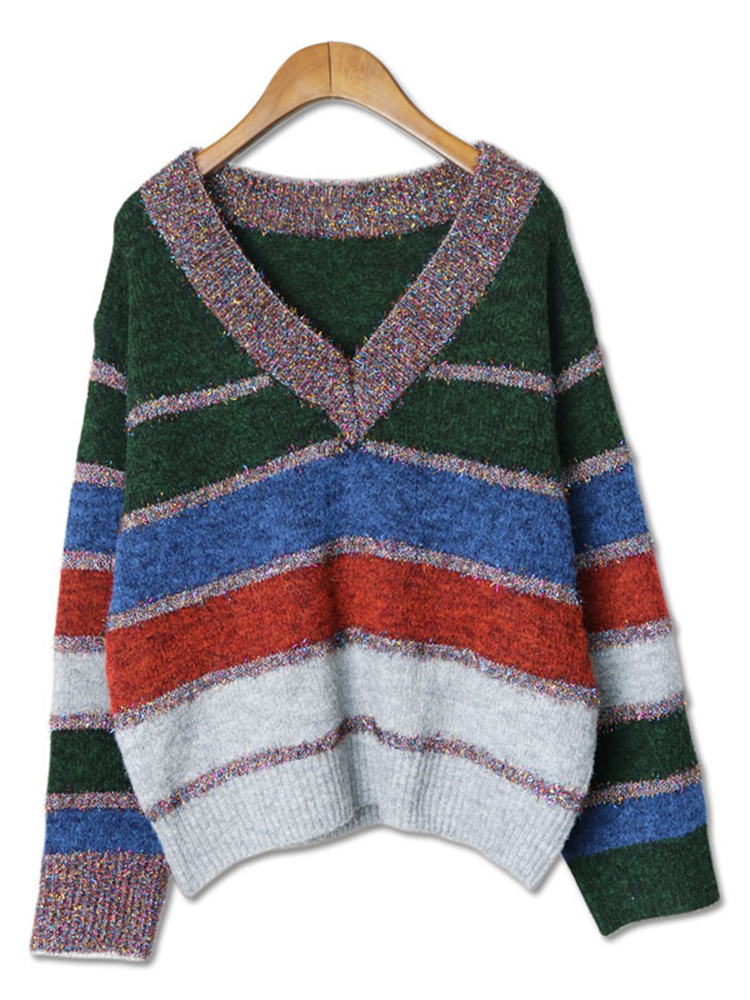 Plus Size Casual Women Color Patchwork Stripe Sweaters