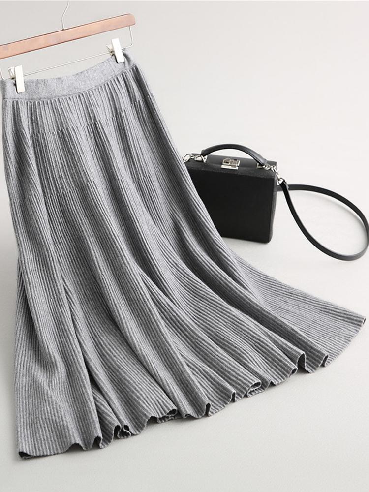 Чистый цвет Женское Вязаная юбка