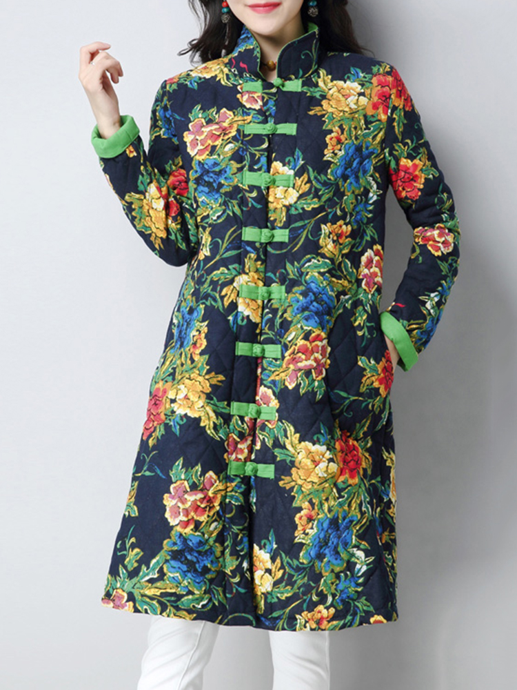 Plus Size Vintage Women Floral Printed Cotton Linen Coats