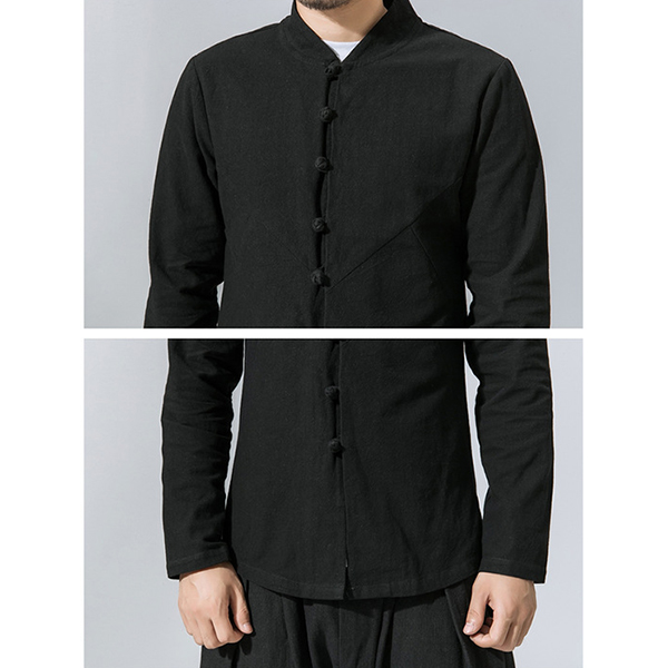 Chinese Style National Frog Button Loose Casual Linen Shirts