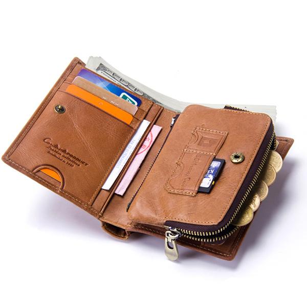 Men Genuine Leather SD SIM Detachable Bag Trifold Wallet