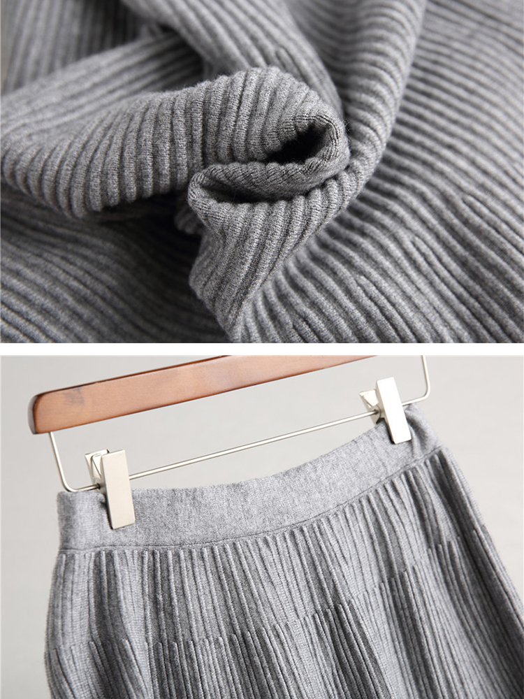 Pure Color Women Knit Skirt