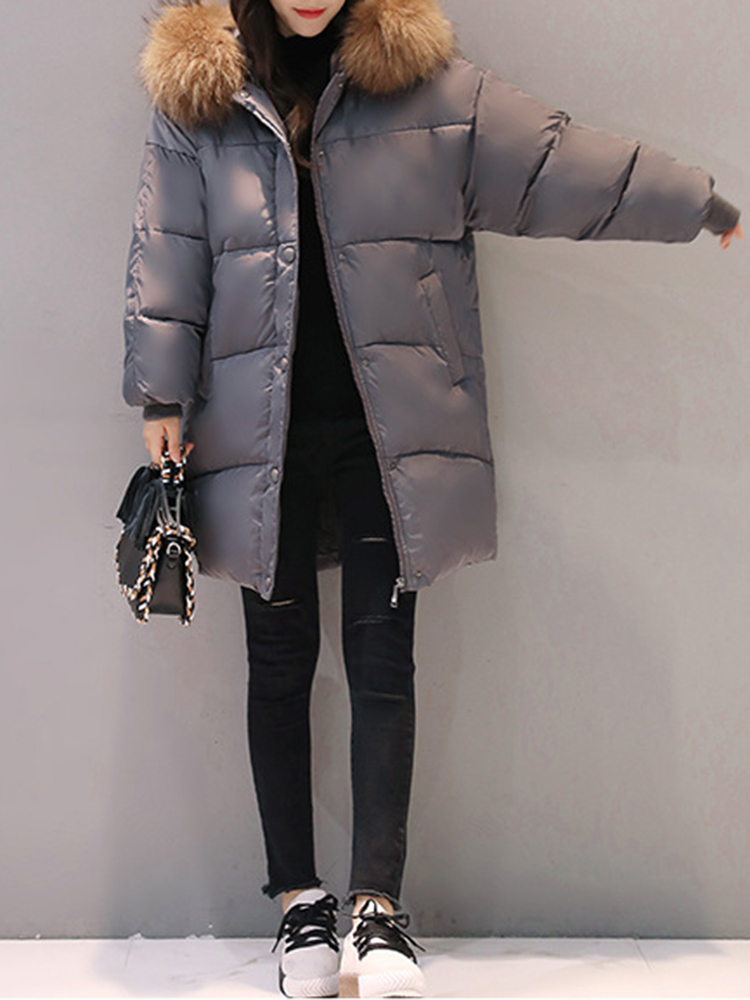 M-3XL Winter Women Fur Collar Hoodie Cotton Quilted Jacket