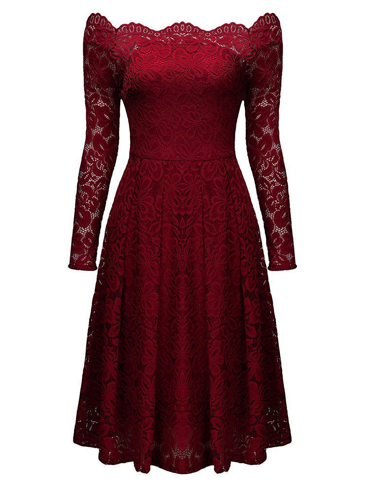 Vintage Lace Off Shoulder Long Sleeve Dress For Women