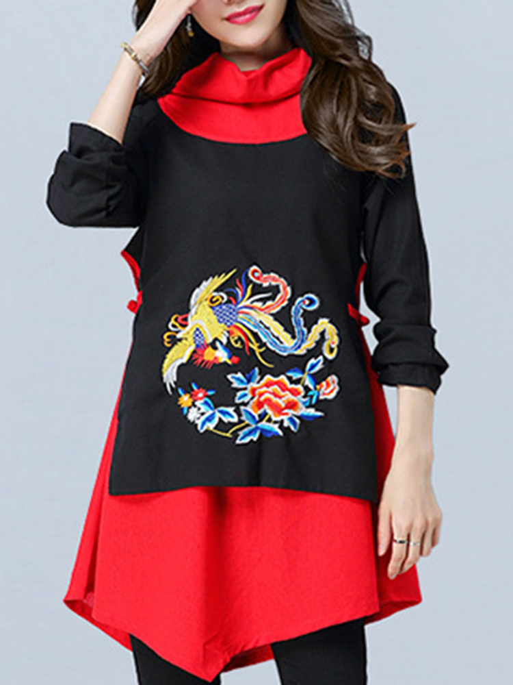 Embroidered Long Sleeve Turtleneck Blouse