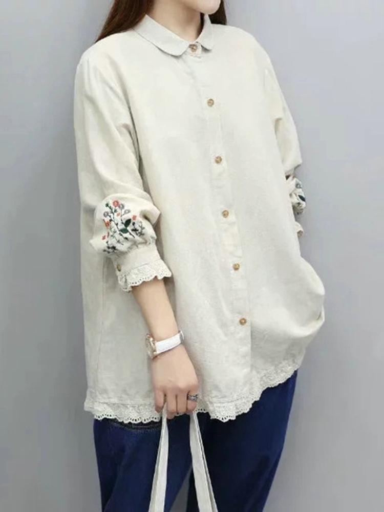Casual Women Embroidery Cotton Linen Blouse