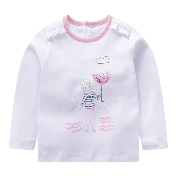 Kid Girls Long Sleeve Cartoon Character Cotton T-shirt