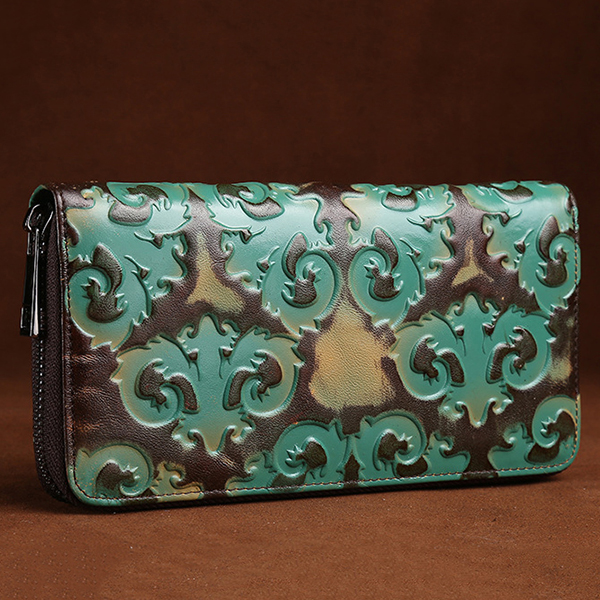 Women Genuine Leather Cowhide Brush Color Retro Embossed Purse 8 Card Slots Card Holder Long Wallet