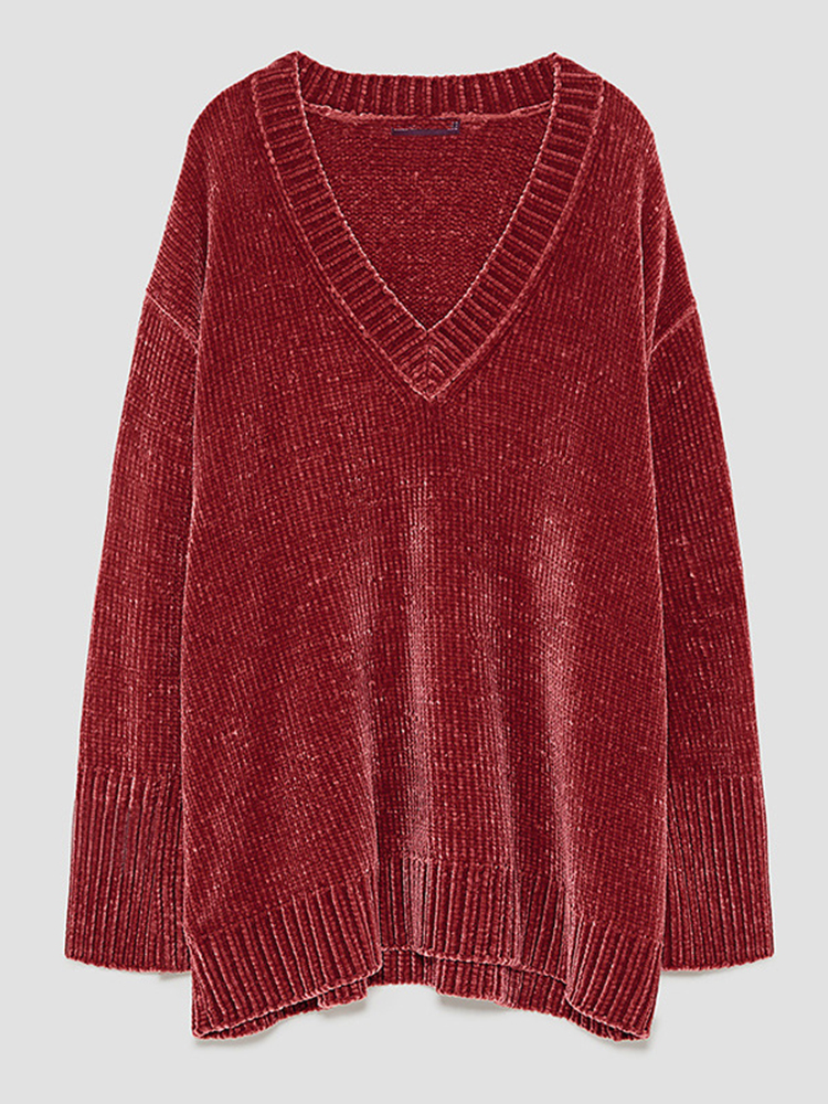 Plus Size Casual Women V-Neck Sweaters