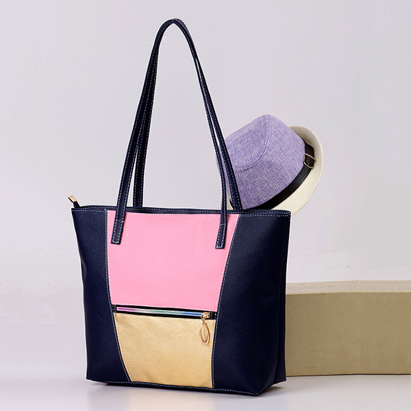 Women PU Leather Large Capacity Color Block Handbag Shoulder Bag