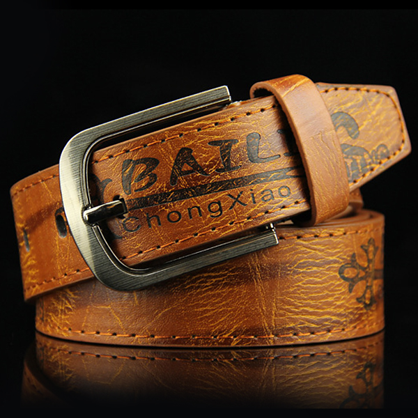 Mens Leather Printting Belt Leisure Waistband Pin Buckle