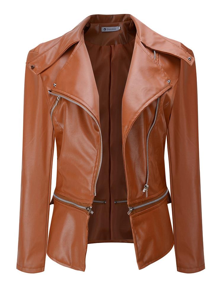 Slim Zipper PU Leather Jacket for Women
