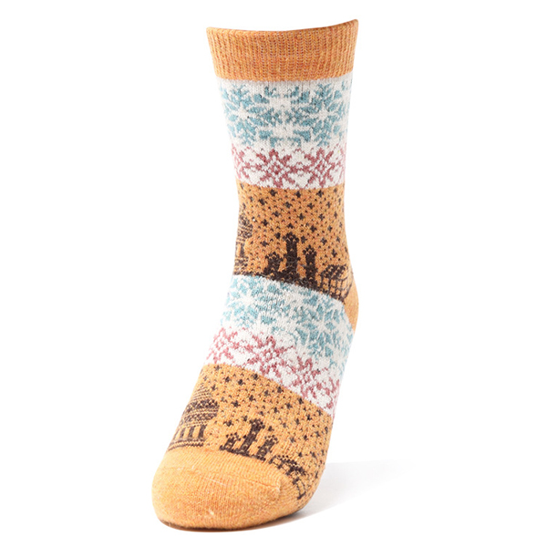 Women Ethnic Style Winter Wool Blend Warm Middle Tube Socks