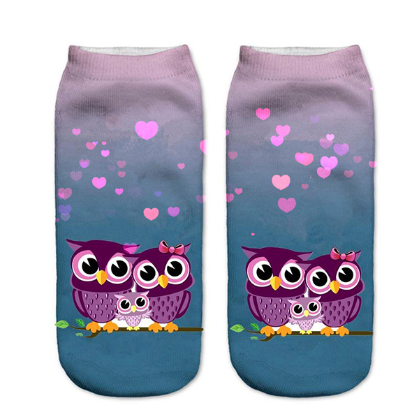 Women Harajuku 3D Owl Animal Print Socks Good Stretch Breathable Low Cut Ankle Socks