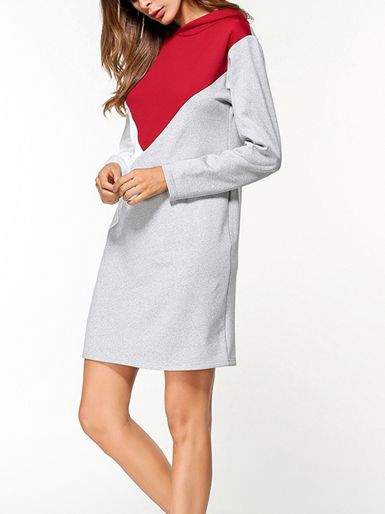 Color Block Hooded Sweatshirt Dress
