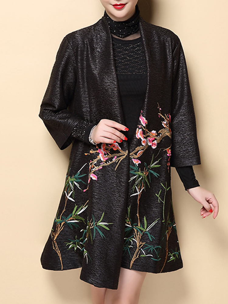 Plus Size Elegant Women Embroidery Cardigans