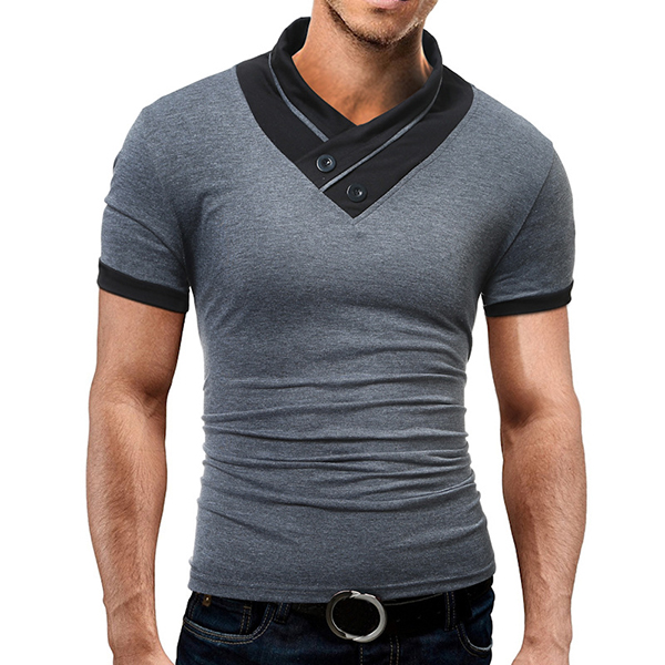 Summer Mens Causal Hit Color High Collar T-Shirts Cotton Soft Sports Shorts-sleeved T-shirt