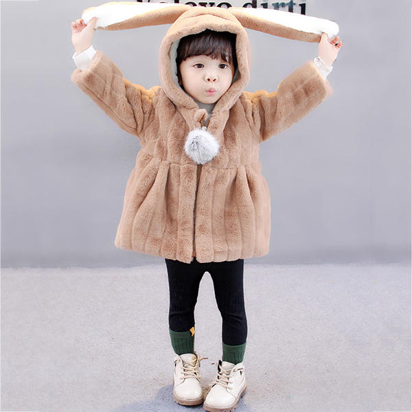 Kid Baby Girls Faux Fur Hooded Coats
