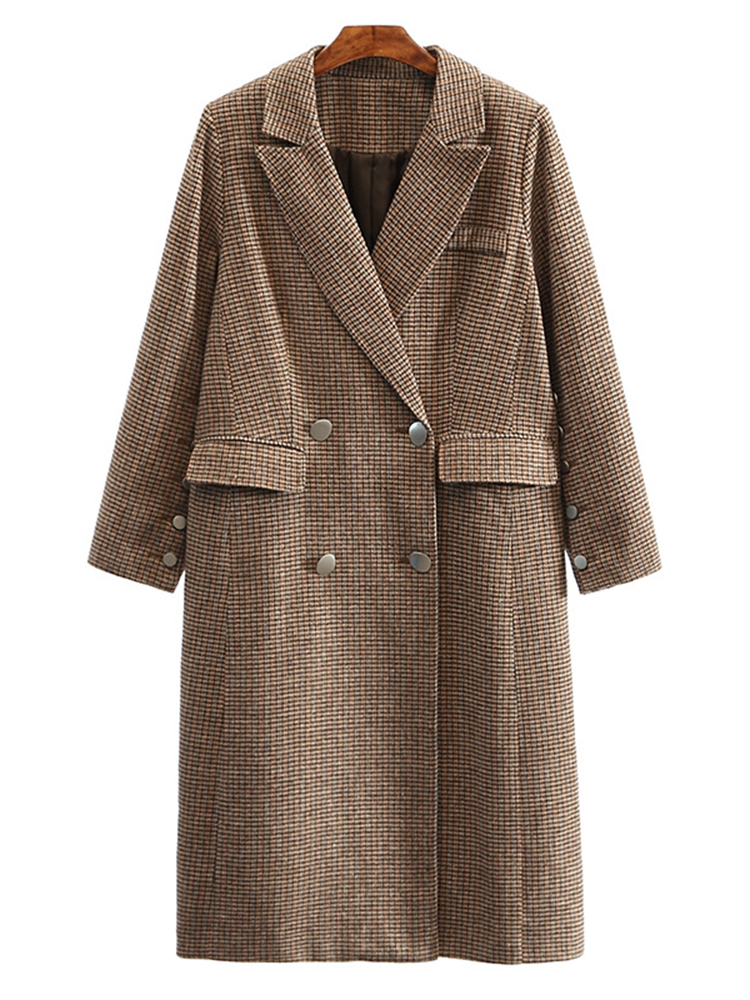 Plus Size Casual Women plaid Wool Coats